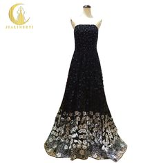Rhine Real Image Sample Strapless Black And Gray Flowers Beads Sexy Luxurious A-line Formal evening dress