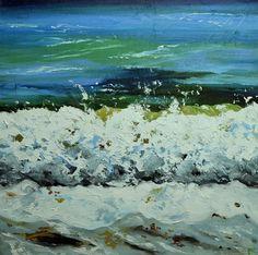 Wave painting 29 24x24 inch seascape landscape original oil painting by Roz