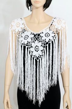 Wedding poncho cape pattern Crochet poncho pattern Fringe