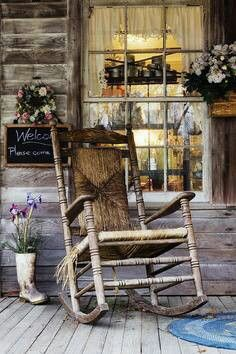 Old Wooden Rocking Chair on a Wooden Porch I could sit here and relax! Country Charm, Rustic Charm, Country Life, Country Living, Country Decor, Rustic Decor, Country Roads, Country Stores, Southern Charm