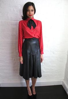 Vintage Leather Midi Skirt