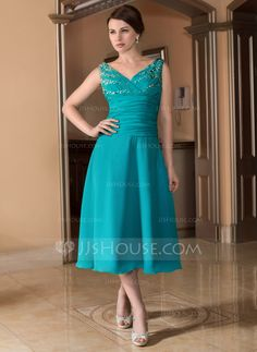 A-Line/Princess V-neck Tea-Length Ruffle Beading Zipper Up Regular Straps Sleeveless 2013 Jade Spring Summer Fall General Plus Chiffon Mother of the Bride Dress