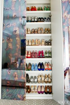 """APT with LSD: Brett Heyman's Upper East Side Apartment - Vogue What Lies Beneath """"In my closet, there are plenty of shoes. They don't really see moonlight as much as they used to, but I certainly enjoy visiting them. Armoire Dressing, Dressing Room Closet, Wardrobe Closet, Closet Bedroom, Closet Space, Shoe Closet, Dressing Rooms, Wardrobe Doors, Mirror Closet Doors"""