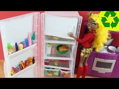 Make a Doll Refrigerator - Doll Crafts - YouTube