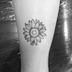 Black And White Daisy Flower Tattoo Design For Forearm