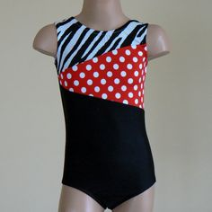 Gymnastic Dance Leotard With Polka Dots and Zebra by SENDesigne, $24.00