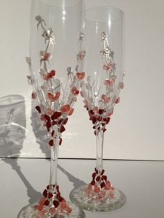 Wedding champagne glasses hand decorated with by PureBeautyArt, $64.00