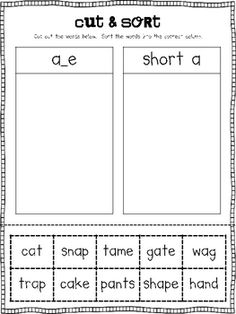 Long A Word Work Activities ... I need to make something like this with a-e and long a words