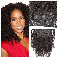 HonorHair 100 Virgin Remy Human Hair Kinky Curly Clip in Extensions Full Set with Clips on 1b Natural Black Color 7 pcslot85g for Black Women >>> Read more at the image link.