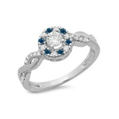 0.55 Carat (ctw) 18K White Gold Round Cut Blue & White Diamond Ladies... ($579) ❤ liked on Polyvore featuring jewelry, rings, white, white gold diamond ring, blue engagement rings, blue ring, round engagement rings and ribbon engagement ring