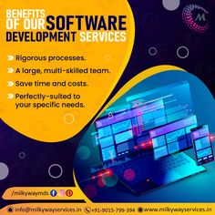 Getting customized software from Milkyway has huge benefits for a business: huge cost and time savings; perfect, tailor-made products backed by rigorous processes and a large multi-skilled team. Call ☎️ at : +91-9015-799-394 . #software #softwaredevelopment #softwaredesign #development #technology #developer #customsoftware #webdesign #websitedevelopment #startup #website #ecommerce #businessapp #business #itcompany #branding Software Development, Ecommerce, Web Design, Branding, Technology, Website, Business, Products, Tech