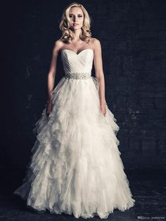 Wholesale Wedding Dresses - Buy Intricate 2014 Ball Gown Sweetheart Organza Tiered Ruched Chapel Train White Elegant Wedding Dresses Bridal Dress Gowns Gown Custom Made, $176.19   DHgate