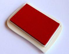 Textil Stempelkissen rot Stempelkissen Stoff  von frau zwerg auf DaWanda.com