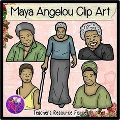 Maya Angelou clip art - color and black line $
