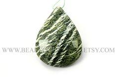 Semiprecious Stone, Green Zebra Jasper Faceted Focal Pear Pendant (Quality A) / 29x38 mm / GREE-027 by beadsogemstone on Etsy #greenzebrajasperbeads #semipreciousstone #gemstone #craftsupplies #jewelrymaking #semipreciousbeads
