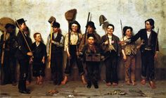 """Dress Parade"" (1878), by English-born American artist - John George Brown (1831-1913), Oil on canvas, 60.96 x 101.6 cm. (24 x 40 in.), Private collection."