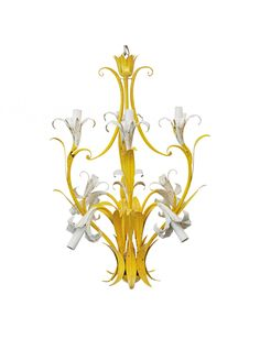 1970s Italian eight-light yellow and white lily chandelier.  || TheHighBoy || #highboystyle #antiquesmakeitbetter #antiques #vintage