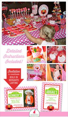 Girl Elmo Birthday Decorations Pink Elmo por AmandasPartiesToGo