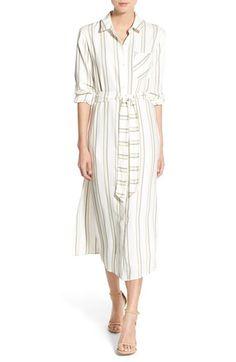 Olivia Palermo + Stripe Midi Shirtdress available at