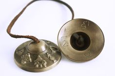 Tingsha Cymbals with Eight Auspicious Signs  for sale at Himalayan Wang Shoppe