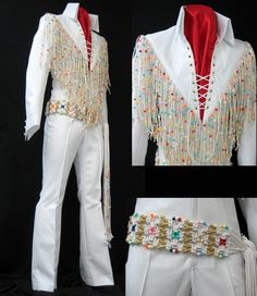 The White Beaded Fringe jumpsuit. From 1970. Elvis wore it during the filming of Elvis - that's The Way It Is, as well as for the September and November 1970 tours.