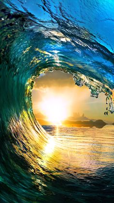 ↑↑TAP AND GET THE FREE APP! Art Creative Water Sea Waves Sun Sky Blue Yellow HD iPhone 6 Plus Wallpaper