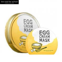 TOO COOL FOR SCHOOL Egg Cream Mask 1set (5ea)Soft microfiber fabric thoroughly adheres to your skin and delivers active components quickly andintensively.Mask sheet is concentrated with egg yolk extract which nourishes rough skin and gives moisture and ra