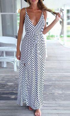 Monochrome, Spaghetti Strap, Striped, Tie Waist, Backless, Maxi Dress