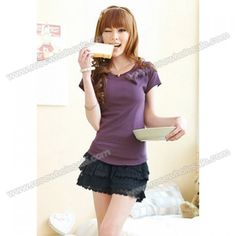 Wholesale Sweet Style Lace Flounce Design Solid Color Shorts For Women (BLACK,ONE SIZE), Shorts - Rosewholesale.com