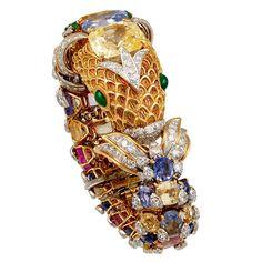 DAVID WEBB Multi-Color Sapphires,Emerald & Diamond Fish Bangle