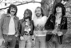 Manny Charlton, Darrell Sweet, Pete Agnew and Dan McCafferty of the Scottish rock band Nazareth posing for a group shot in April 1975 in Copenhagen, Denmark.
