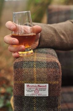 A creative use for such a magnificent (and durable) fabric, Harris Tweed.  I offer many selections of tweeds from England and Scotland - the best..  Upscale Man's cave comes to mind!? I