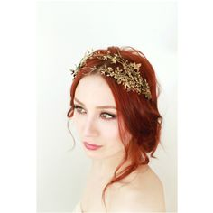 Golden leaf crown, bridal hair adornment, grecian crown, woodland... (€105) ❤ liked on Polyvore featuring accessories, hair accessories, bride tiara, crown hair accessories, bride hair accessories, bridal tiaras and bridal crown