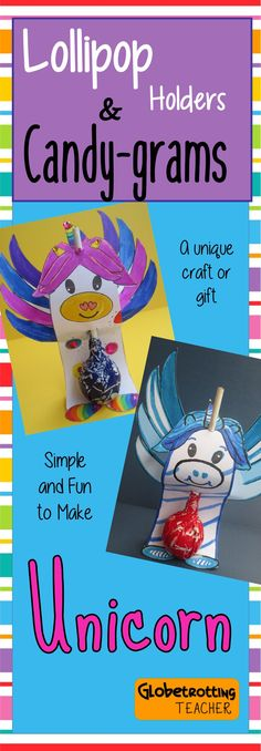 This adorable unicorn craft lollipop holder is perfect for Valentine's Day.  It can be used as a class activity, as an individual treat, or as a candy gram fundraiser.  Fun for all!