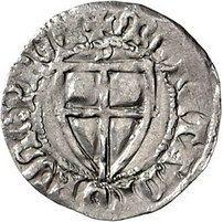 Deutscher Orden Hermann Gans 1413-1414,  Schilling, Danzig. +MAGISTER GENERALIS Hochmeisterschild / +MONETA DNORVM PRVC Ordensschild, darüber D. Neumann 13, Slg. Marienburg 386, Voßberg 632.