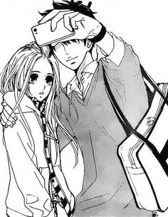 Shoujo manga.. I don't know the characters but I love how the guy is taking selfie with his girl.. the look on the girl's face is perfectly innocent & confused...