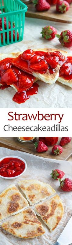 Strawberry Cheesecakeadillas Recipe : Warm melted cream cheese sandwiched between crispy tortillas dusted in cinnamon and sugar, aka cheesecake in quesadilla form! Mexican Food Recipes, Sweet Recipes, Dessert Recipes, Simple Recipes, Food Truck Desserts, Mexican Appetizers Easy, Quesadilla Recipes, Breakfast Quesadilla, Corn Tortilla Quesadilla