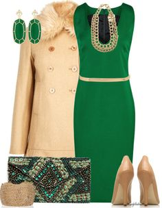 A fashion look from December 2012 featuring Reiss, fur-collar coats and nude shoes. Browse and shop related looks. Business Dresses, Business Outfits, Classy Outfits, Chic Outfits, Green Dress Outfit, Green Outfits, Emerald Green Dresses, Outfit Invierno, Look Fashion
