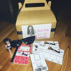 KC undercover Cover spy kit.   They didn't have any KC undercover items at the store so I made my own spy kit for my daughters birthday. I designed the labels, badges, and fingerprint cards. The other items I purchased from Hobby Lobby, Oriental Trading, and Dollar Tree.