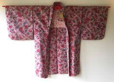 Vintage Japanese Kimono Haori Jacket Meisen Silk rose floral