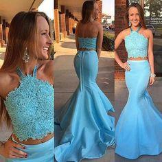 a00e54e973abd Blue Two Pieces Mermaid Evening Prom Dresses
