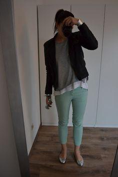 leather jacket  mint skinny jeans