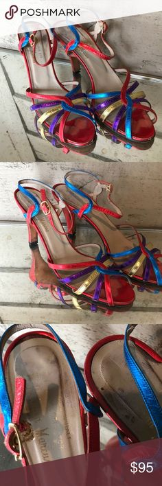 Italian Made Astra Shoes for Neiman Marcus These gorgeous vintage shoes are stunning. The shimmering red, gold, purple, and yellow Strappy heels will be the talk of your next party! These shoes show a little wear but they still have lots of miles left to go! Neiman Marcus Shoes