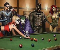 Nightwing, Batgirl, Harley Quinn, Joker, Batman and Poisen Ivy *-*