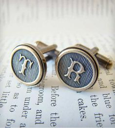 These custom monogram cufflinks are handmade to order, and they feature gorgeous antiqued brass letters set in antiqued brass cufflinks. Each set is made in the San Francisco Bay Area just for you, dapper gentleman.