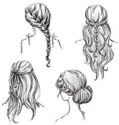 Set of different hairstyles vector. - by kamenuka on VectorStock® Set of different hairstyles vector. – by kamenuka on VectorStock® Set of different hairstyles vector. – by kamenuka on VectorStock® How To Draw Braids, How To Draw Hair, Braid Hairstyles, Girl Hairstyles, Drawing Hairstyles, Hair Updo, Girl Hair Drawing, Hair Styles Drawing, Drawing Drawing