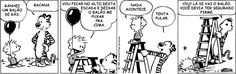 Calvin e Haroldo testam a física com um balão de gás