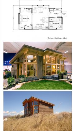 Tiny House for the woods...good design for a view | 550 sq ft
