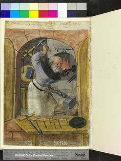 Anvil, hammer, various sized drills.  (1526)  Page from Die Mendelschen und Landauerschen Hausbücher.