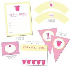 free baby shower printable decorations invitations..FREE Printables for a pink and yellow baby shower